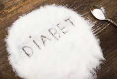 Diabet sign made of granular sugar. The picture illustrates the harm of eating sugar and salt, as well as the incidence of diabetes Royalty Free Stock Photography