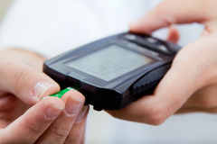 Diabete-control test blood sugar with glaucometer Royalty Free Stock Image