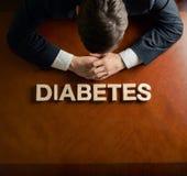 Diabete di parola e composizione devastante nell'uomo immagine stock