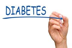 Diabete - mano femminile con il testo blu di scrittura dell'indicatore Immagini Stock Libere da Diritti