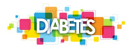 DIABETES banner on colorful squares background. DIABETES overlapping letters banner on colorful squares background. Vector Stock Illustration
