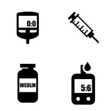 Diabetes black icon set. Blood Glucose Test. Stock Image