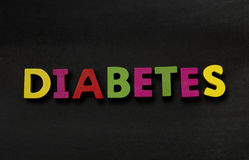 Diabetes. Blackboard with Diabetes in multi coloured text stock photos
