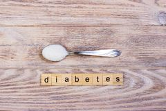 Diabetes block wooden letters and sugar pile on a spoon Royalty Free Stock Photos