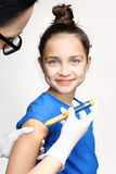 Diabetes, child take insulin. Girl with diabetes during the injections of insulin Stock Images