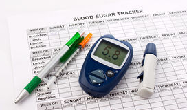 Diabetes concept with  glucometer Stock Photography