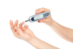 Diabetes concept. Measuring glucose level blood test Stock Image
