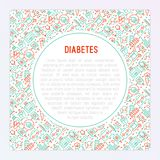 Diabetes concept with thin line icons stock illustration