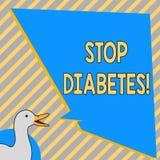 Diabetes conceptual da parada da exibição da escrita da mão O texto da foto do negócio toma de seu Sugar Levels Healthy Diet Nutr ilustração stock