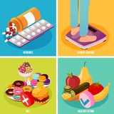 Diabetes Control Isometric Design Concept. Diabetes monitoring isometric design concept with medicines, weight control, diet and healthy eating isolated vector stock illustration