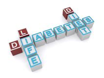 Diabetes crossword. A crossword made out of letter blocks with the words diabetes, life and diet Royalty Free Stock Photo