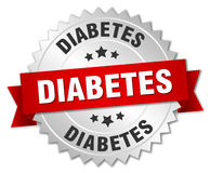 Diabetes 3d silver badge. With red ribbon Stock Photo