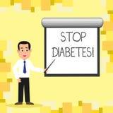 Diabetes da parada do texto da escrita da palavra Conceito do negócio para o cuidado da tomada de seus hábitos de Sugar Levels He ilustração royalty free