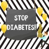Diabetes da parada da exibição da nota da escrita Apresentar da foto do negócio toma de seu Sugar Levels Healthy Diet Nutrition ilustração do vetor