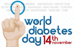 Diabetes Day with Hand with Blood Drop and Reminder Date, Vector Illustration Royalty Free Stock Photos