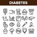 Diabetes, de Lineaire Vector Geplaatste Pictogrammen van de Ziektediagnostiek stock illustratie