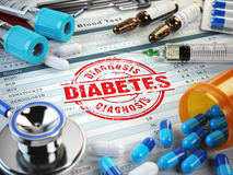 Diabetes diagnosis. Stamp, stethoscope, syringe, blood test and Stock Photos