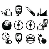 Diabetes disease, health icons set royalty free illustration