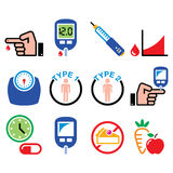 Diabetes disease, health, medical icons set. Vector icons set - people with diabetes, treatment isolated on white Royalty Free Stock Image