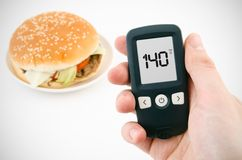Diabetes doing glucose level test Royalty Free Stock Photos