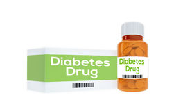 Diabetes Drug concept. 3D illustration of Diabetes Drug title on pill bottle, isolated on white Stock Photos