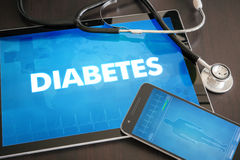 Diabetes (endocrine disease) diagnosis medical concept on tablet Royalty Free Stock Image
