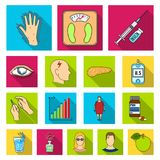 Diabetes flat icons in set collection for design. Treatment of diabetes vector symbol stock web illustration. stock illustration