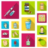 Diabetes flat icons in set collection for design. Treatment of diabetes vector symbol stock web illustration. Diabetes flat icons in set collection for design Royalty Free Stock Photo