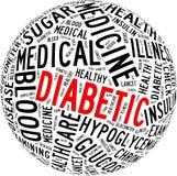 Diabetes gezondheidszorg info-tekst Royalty-vrije Stock Foto's