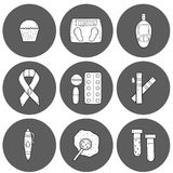 Diabetes hand drawn icons Royalty Free Stock Photography