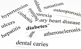 Diabetes. Health care concept of diseases caused by unhealthy nutrition Royalty Free Stock Images