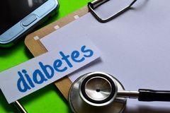 Diabetes on Healthcare concept with green background stock images