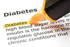 'Diabetes' highlighted in orange royalty free stock photo