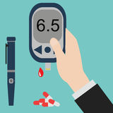 Diabetes icon and vector.Blood Glucose Test.Hand holding Glucose Meter. Stock Images