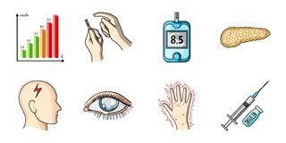 Diabetes icons in set collection for design. Treatment of diabetes vector symbol stock web illustration. Stock Images