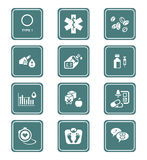 Diabetes icons || TEAL series Royalty Free Stock Images