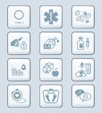 Diabetes icons || TECH series Royalty Free Stock Photos