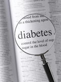 Diabetes. Magnifying Glass Highlighting diabetes text royalty free stock photo