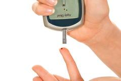 Diabetes measure glucose level blood test Stock Image