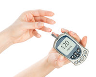 Diabetes measure glucose level blood test glucometer Royalty Free Stock Images