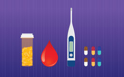 Diabetes medicine drugs and blood test sugar vector concept Royalty Free Stock Photography