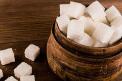 diabetes Muitos cubos do açúcar no frasco Imagem de Stock