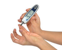 Diabetes patient measuring glucose level blood test Royalty Free Stock Photography