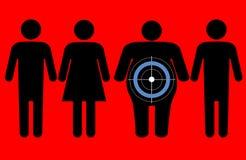 Diabetes que apunta a gente gorda Fotos de archivo libres de regalías