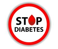 Diabetes redonda de la parada de la muestra con una gota de la sangre aislada en un fondo blanco Símbolo hexagonal médico Vector Foto de archivo libre de regalías