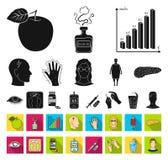 Diabetes schwarz, flache Ikonen in gesetzter Sammlung für Entwurf Behandlung der Diabetesvektorsymbolvorrat-Netzillustration vektor abbildung