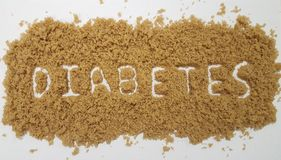 Diabetes Spelled Out in Brown Sugar on White Background. Sugar Background royalty free stock image