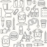 Diabetes symptoms and control line style seamless vector background Stock Images