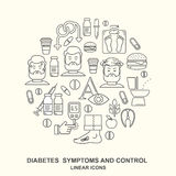 Diabetes symptoms and control line style vector background Stock Photography