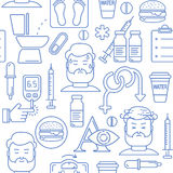 Diabetes symptoms and control line style vector seamless background with blue icons Stock Photography